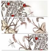 Floral  backgrounds set in elegant style — Stock vektor