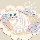 Cute white detailed cat in basket with flowers — Stock Vector