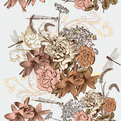 Floral seamless wallpaper pattern in vintage style — Stock Vector