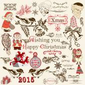 Christmas set of vector decorative elements in vintage style — Stock Vector