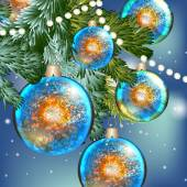 Blue Christmas background with baubles — Stock Vector
