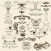 Collection of vector flourishes in vintage style — Stock Vector