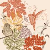 Floral pattern in vintage style with birds, dragonfly and foliag — Stock Vector