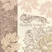 Bruiloft uitnodiging met vintage bloeit — Stockvector