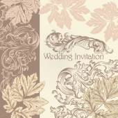 Wedding invitation with vintage flourishes — Stock Vector