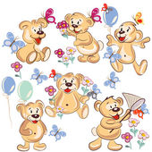 Collection of vector hand drawn cartoon bears for childish desig — Stock Vector