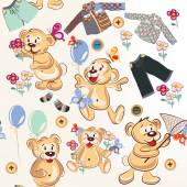 Cute cartoon seamless pattern with bears in childish style — Stock Vector