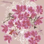 Seamless wallpaper pattern in floral stye — Stock Vector