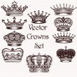 Collection of vector hand drawn crowns for design — Stock Vector #54619123