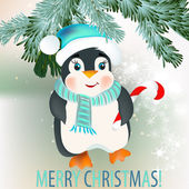 Christmas background with cute little penguin — Stock Vector
