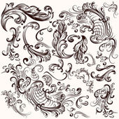Collection of vector hand drawn swirls — Stock Vector