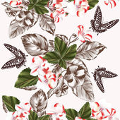 Floral seamless wallpaper pattern with flowers and butterflies — Stock Vector