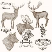 Collection of vector hand drawn animals for hunting season desig — Διανυσματικό Αρχείο