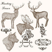 Collection of vector hand drawn animals for hunting season desig — Wektor stockowy