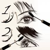 Fashion vector poster with makeup, mascara, female eyes and lash — Stock Vector