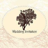 Wedding invitation in vintage style with tree — Stock Vector