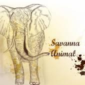 背景与矢量手画的大象 — 图库矢量图片