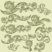 Collection of vector hand drawn swirls in vintage style — Stock Vector