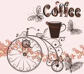Coffee background with swirl old-fashioned bicycle and coffee cu — Vettoriale Stock