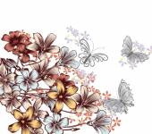 Floral background with cute butterflies and flowers — 图库矢量图片