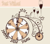 New year card with clocks and bicycle in vintage style — Stock Vector