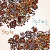 Fashion background with swirl ornament in Indian style — Vecteur