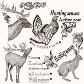 Collection of hand drawn animals in vintage style for hunting de — Stock Vector