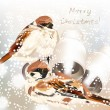 Christmas greeting card with snow and birds in watercolor style — Vecteur #58072957