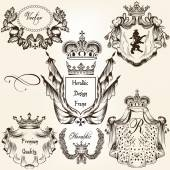 Collection of vector heraldic frames shields and coat of arms — Stock Vector