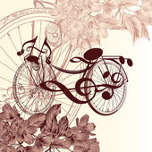 Fashion background with abstract bike with notes and flowers for — Stock Vector