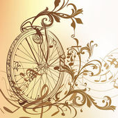 Music background with bike wheel, notes and swirls in vintage st — Stock Vector
