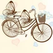 Gentle wedding background with bicycle and butterflies — Stock Vector