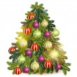 Decorated Christmas tree isolated on white — Stockvector  #59126863