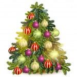 dekorerad julgran isolerad på vit — Stockvektor  #59126863
