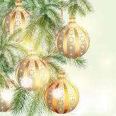 Christmas background with silver and golden baubles — Stockvector