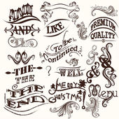 Collection of vector ands, the and swirls in vintage style — Stock Vector