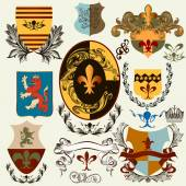 Collection of vector heraldic shields for design — Stock Vector