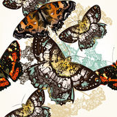 Butterfly seamless pattern with colorful butterflies — Stock Vector