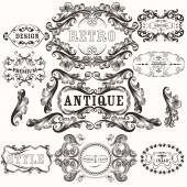 Collection of antique hand drawn frames in baroque style — Stock Vector