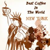 Coffee poster with statue of Liberty holding cup of coffee — Stock Vector