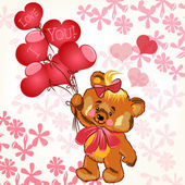 Cute Valentine's card with smile bear holding balloons in a hear — 图库矢量图片