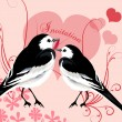 Valentine invitation card with couple of birds and hearts of lov — Stock Vector #61946563