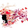 Female silhouette with floral hairstyle and Valentine's hearts — Stock Vector #62425185