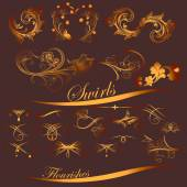 Collection of golden swirls and flourishes for design — Stock Vector