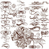 Vector set of calligraphic flourishes and ornaments — Stock Vector