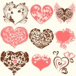 Collection of abstract vector Valentine's Day hearts from swirls — Stock Vector #62463437