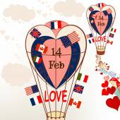 Air balloons with international flags and hearts Valentines gre — Vector de stock