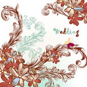 Beautiful wedding background with flowers and swirls — Stock Vector