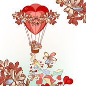 Cute Valentine's Day card with hand drawn air balloon, hearts an — Stock Vector