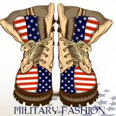 Fashion hand drawn boots in military style with USA flag — Stock Vector